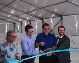 Lee Feldman, City Manager for the City of Fort Lauderdale; Randall Vitale, Regional VP of Hoffman's Chocolates Mayor of Fort Lauderdale Jack Seiler; Matt Caldwell, President and CEO of Sunrise Sports and Entertainment cut the ribbon at Panthers in the Park